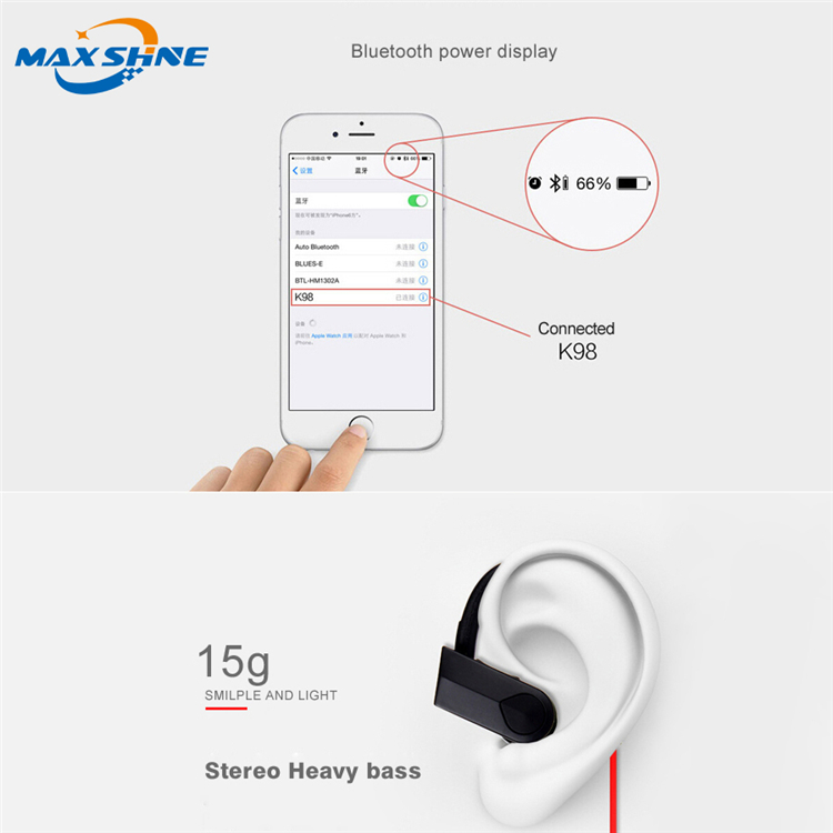 Maxshine K98 mini blue tooth headset headphone for iphone, wireless headphone with mic for laptop