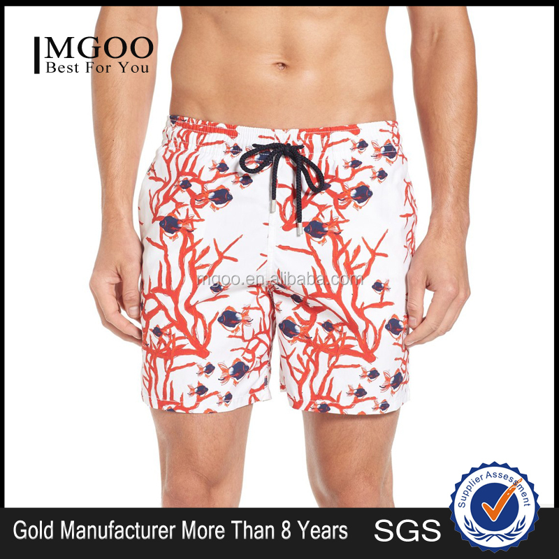 MGOO Fashion Coral Fish Print Swim Trunks Men Swimwear Quick Drying Beach Shorts Mesh Lining Custom Made manufacturers