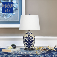 Ceramic table lamp modern simple fancy style chinese bedside lamps with fabric shade