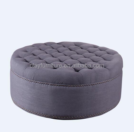 tissu grande table basse ronde pouf rond chesterfield linge poufs - Grande Table Basse Ronde