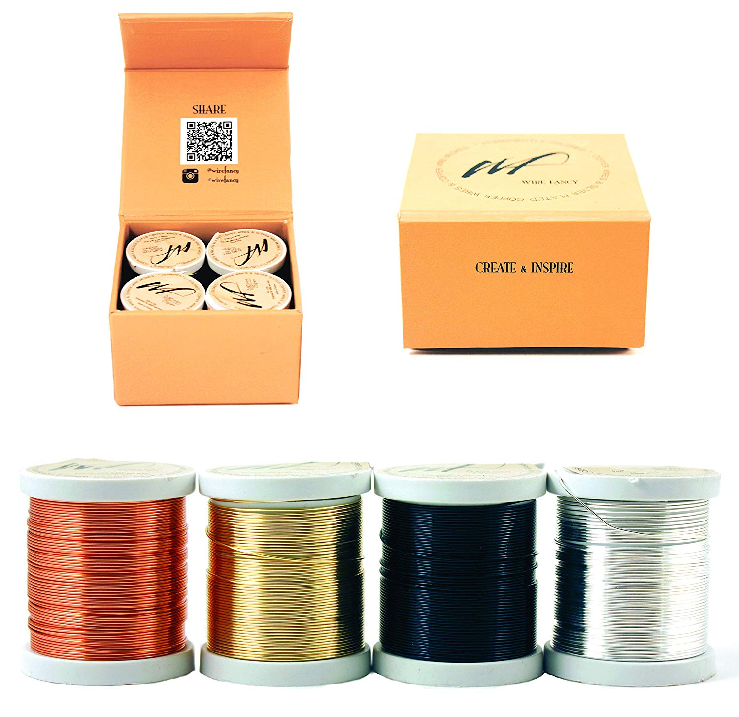 22 Gauge Tarnish Resistant Silver-Plated Copper and Copper Wire Set of 4 spools for Wrapping Jewelry Craft Making Beading Floral Colored DIY Wire kit (WF Color Set 1, 0.60 mm)
