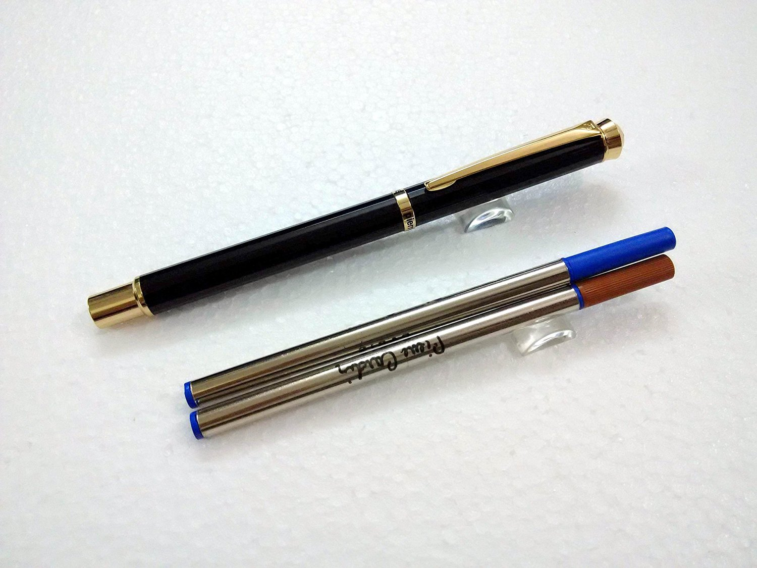 Pierre Cardin Cristal Black Chrome Finish Roller Ball Point Pen - Blue Ink + 1 Extra Black Roller Ball Pen Refill. Crystal on Top - Color Varies Depending on Stock Availability