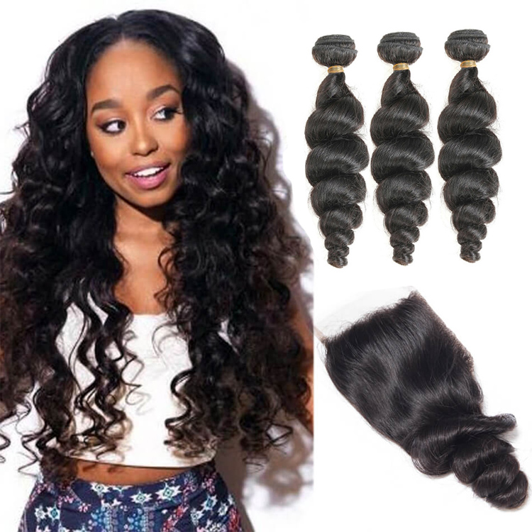 Free Shipping Brazilian Loose Wave Bundles With Closure 100% Remy <strong>Hair</strong> 3 Bundles With 4*4 Lace Closure Free Part