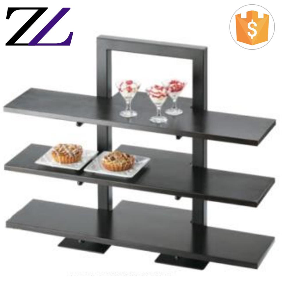 Outdoor Restaurant Furniture Catering Supplies Buffet Shelf Dessert Riser 3 Tier Wood Food Display Stand