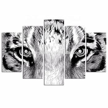 Dinding Seni Tiger Mata Gambar Sketsa Di Atas Kanvas Cetak 5 Pieces