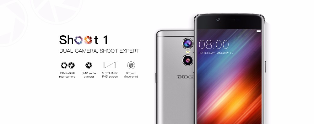 2017 hot top selling Shoot 1 5.5inch FHD Android 6.0 Dual Rear Cameras wholesale factory CE doogee shoot 1 with great price