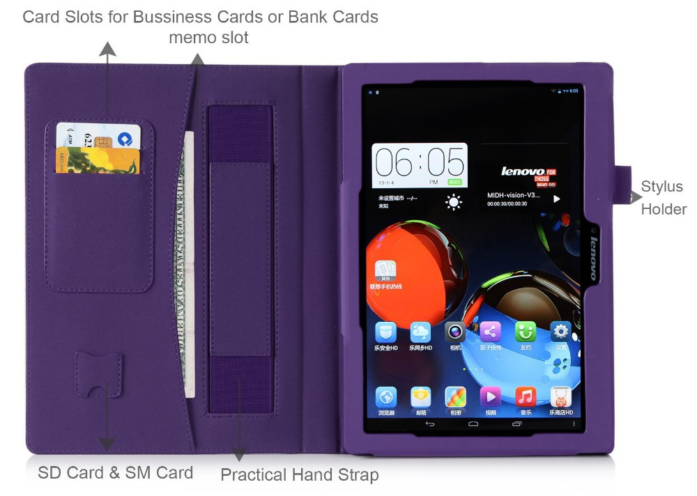 Purple Leather Case for Lenovo A10-70 with Hand Strap Card Slot and Stand Function
