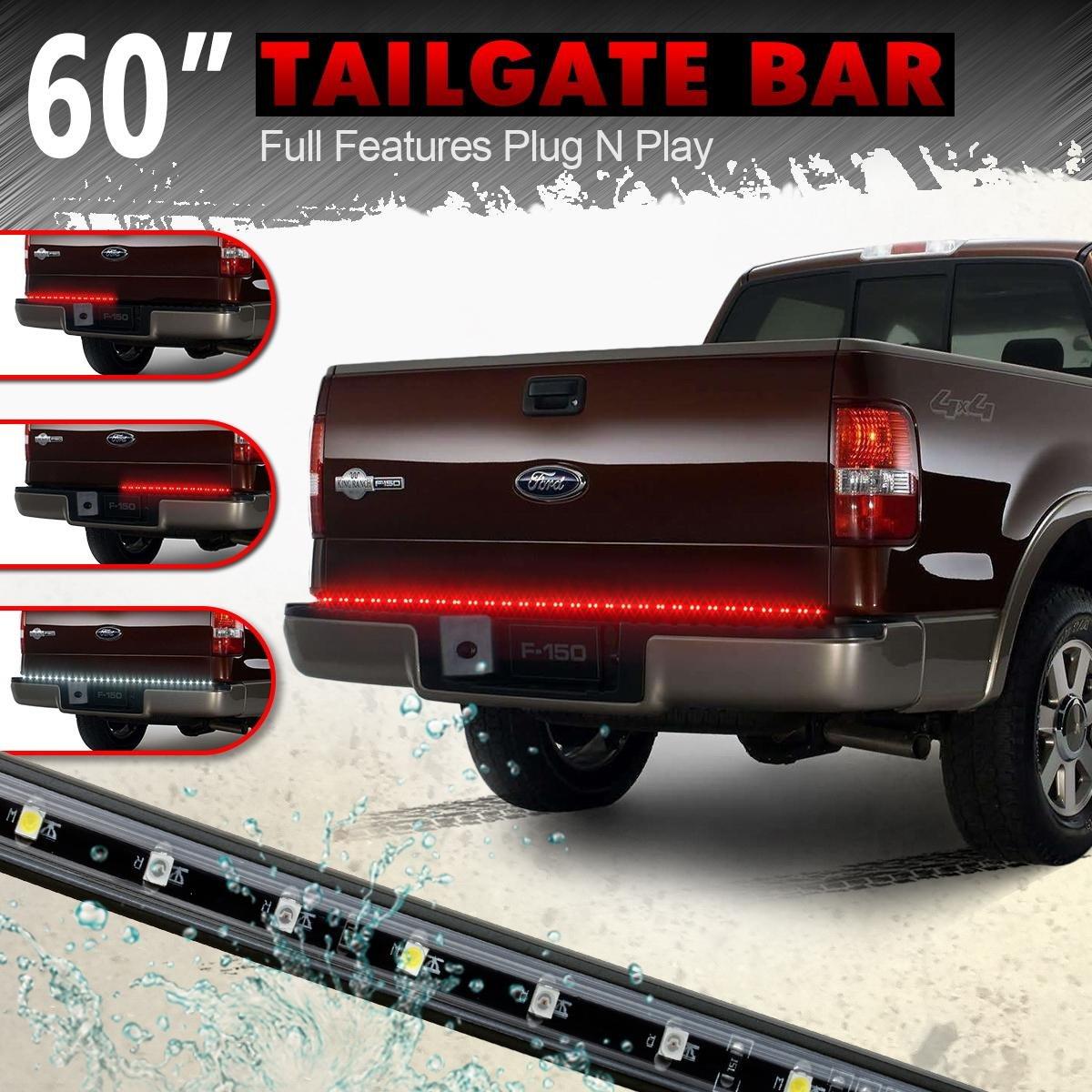 """Partsam 60""""red/white Tailgate LED Strip Light Bar for Reverse Brake Turn Signal Tail for 1988-2002 Chevrolet K1500 K2500 K350 Pickup Truck"""