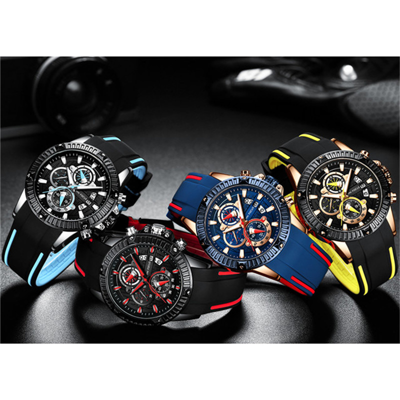 Mini Focus oem Customized Logo silicon band mens wrist watch with japan movement, Black brown blue