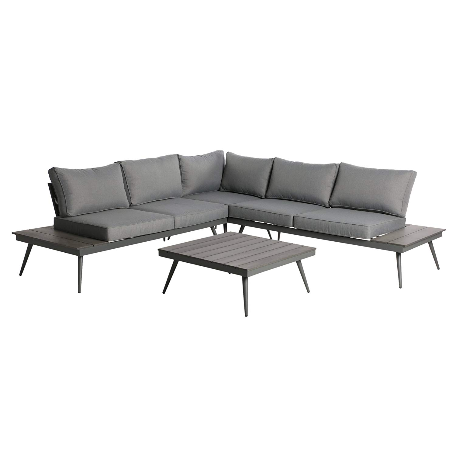 Get Quotations Great Deal Furniture Deborah Outdoor Wood And Aluminum V Shaped 5 Seater Sofa Set