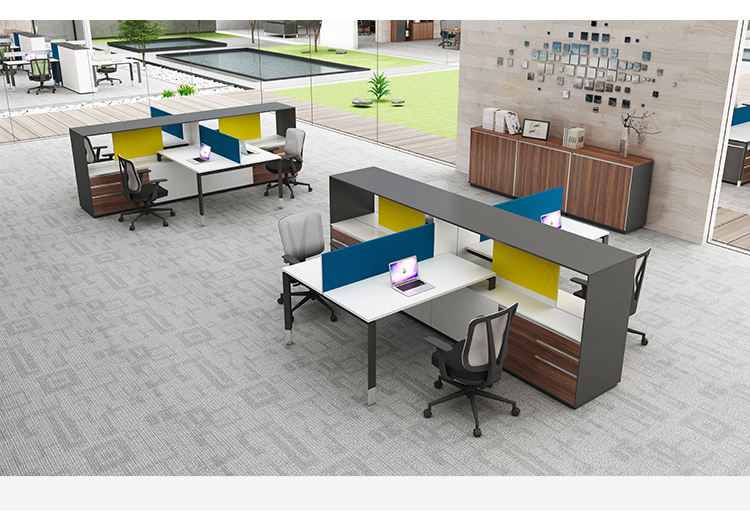 2 seat open office furniture workstation with divided boards
