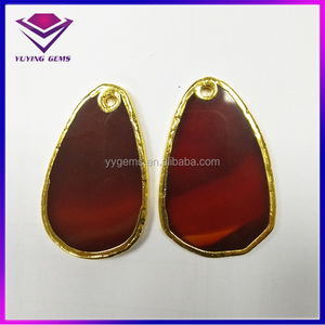 Hot Sale Gold Plated Red Agate Slices Wholesale Gem Stone Pendants