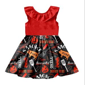 new design baby girl princess dress pork printed match red solid color