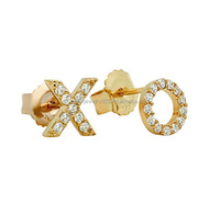 Wholesale XO diamond stud earrings 925 silver jewelry 14k gold