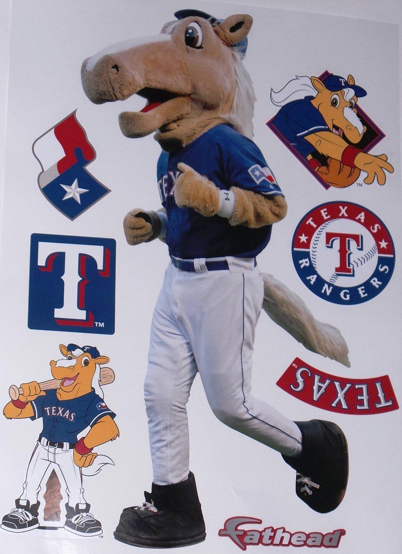 "Texas Rangers Mascot FATHEAD Team Set of 7 Rangers Logo - Official MLB Vinyl Wall Graphics 17"" INCH SHEET"