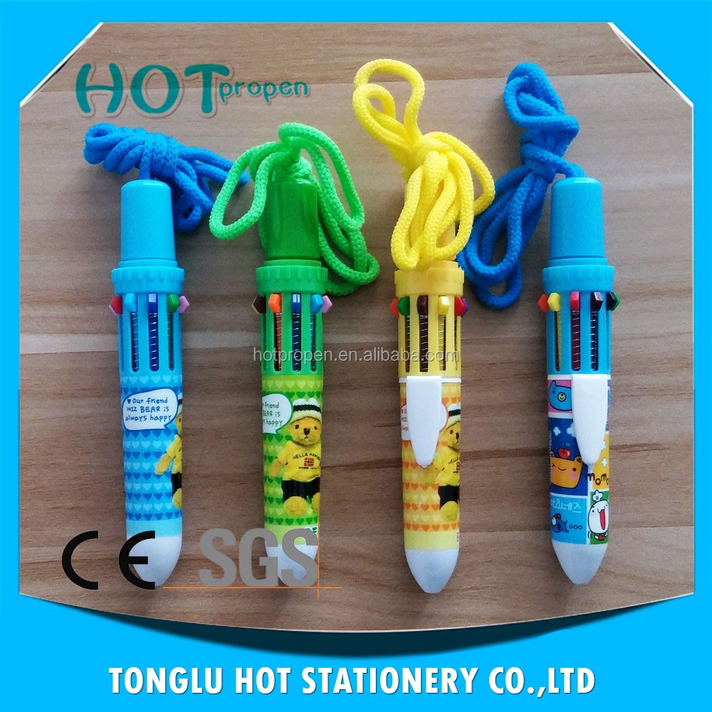 promotional multi color 10 color pen with lanyard