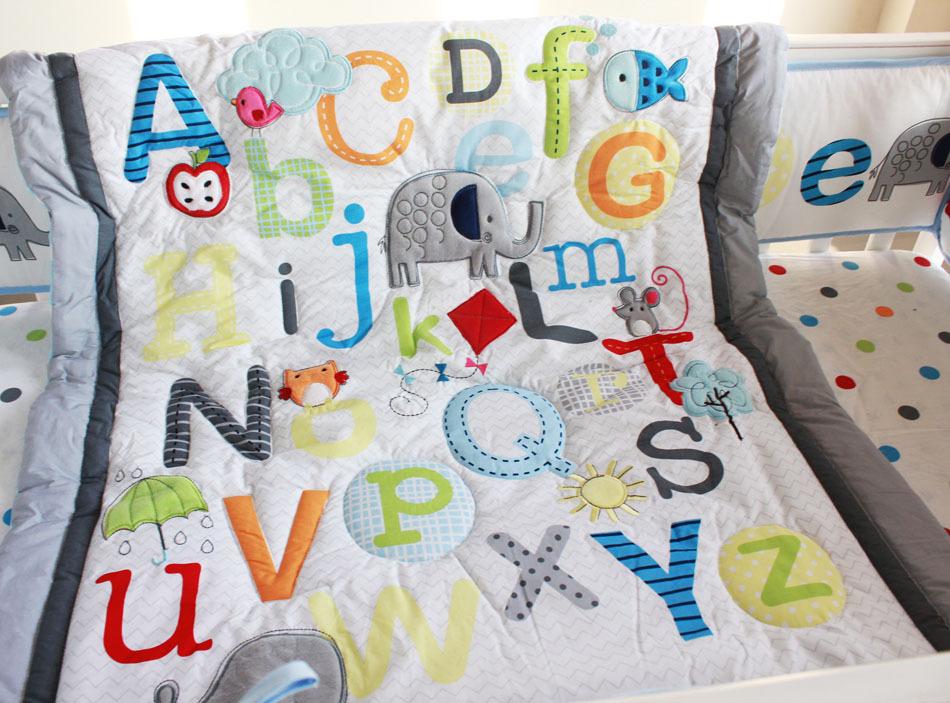 Abc Characters Newborn Baby Boy Crib Bedding Set 4pc Cot