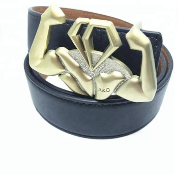 Custom 3D effect belt buckles with logo antique gold plated