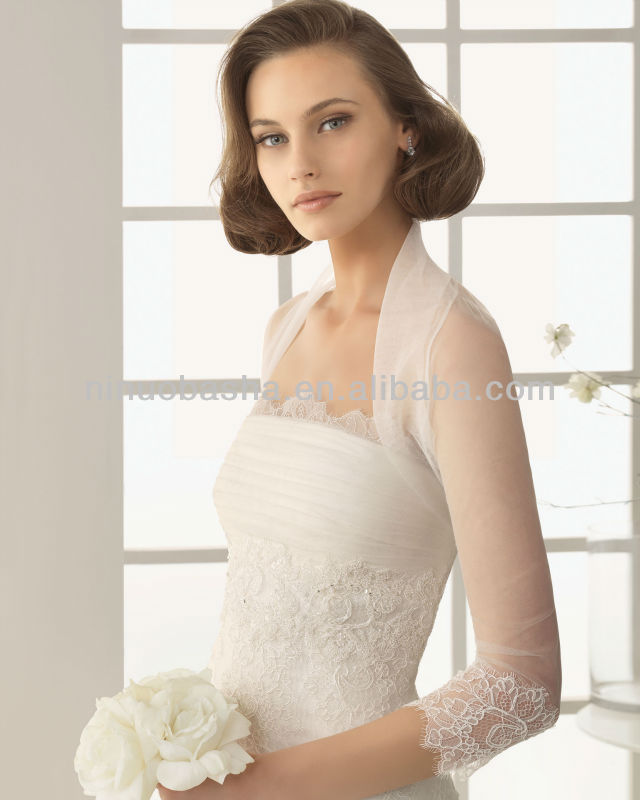 2014 Charming Mermaid Wedding Dresses With Sheer 3/4 Long Sleeve Jacket Strapless Beaded Lace Applique Bridal Gowns NB012