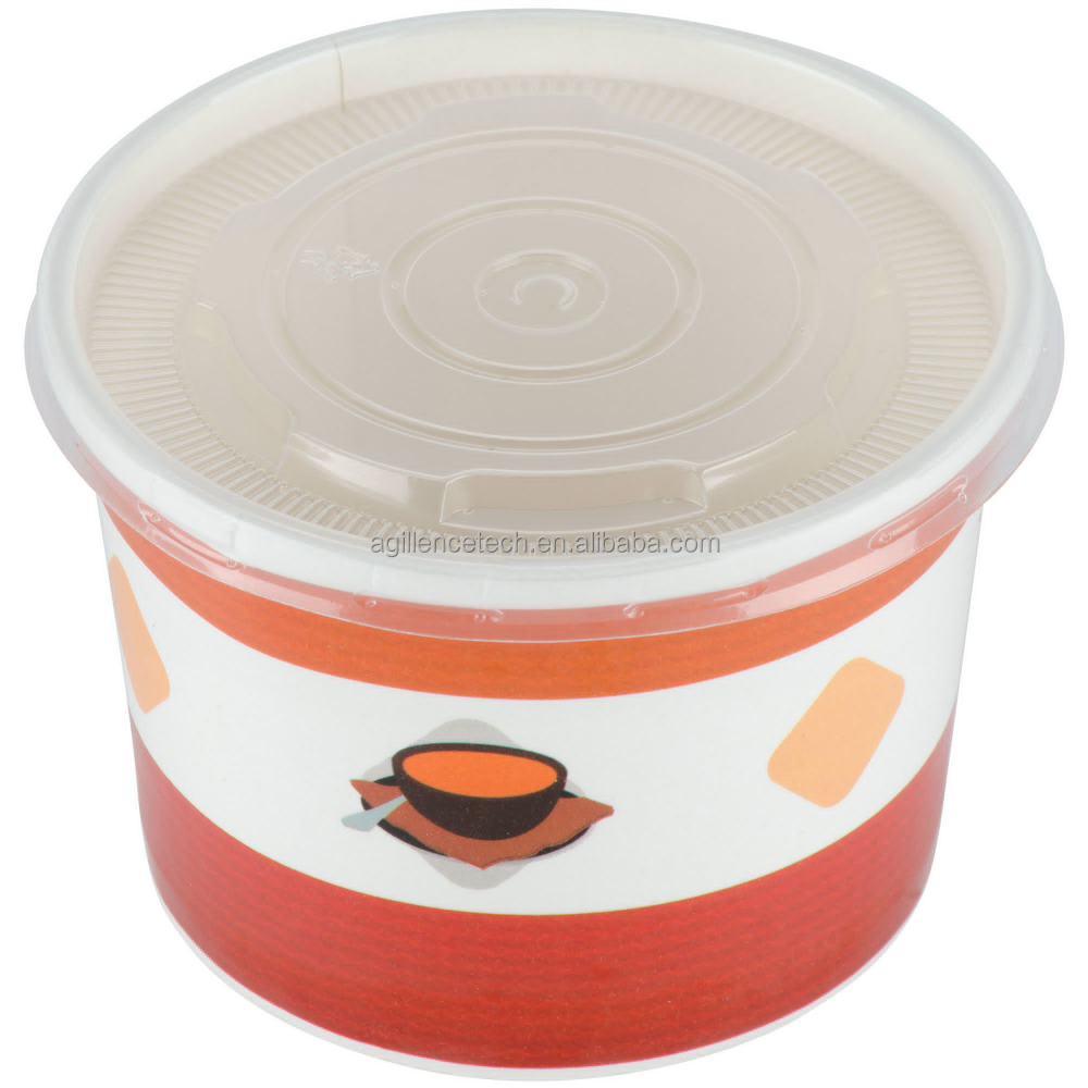2015 Disposable Orange Paper Noodle Soup Bowl With Plastic Lid