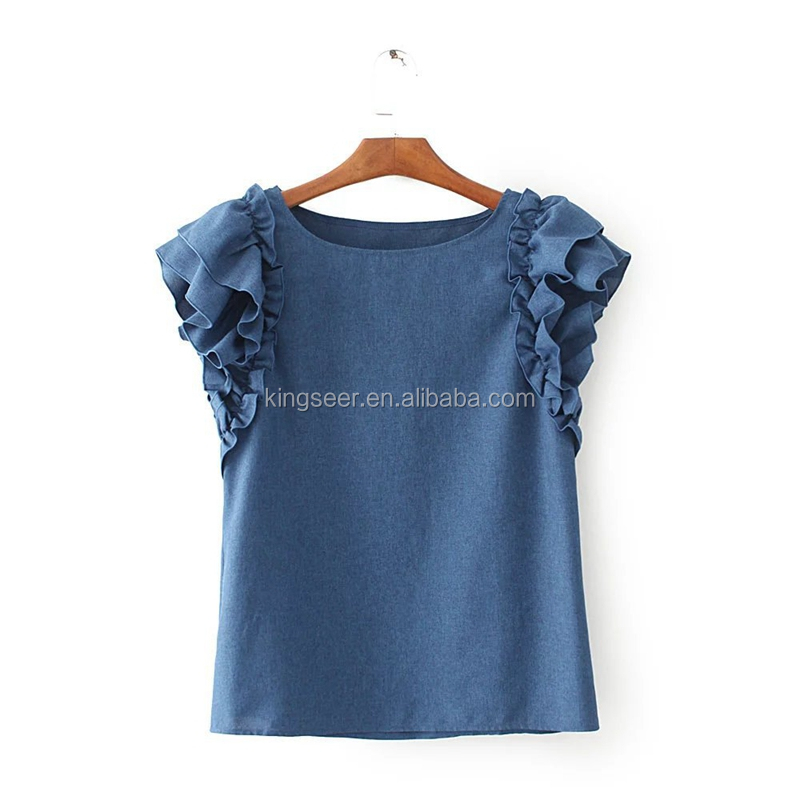 Fashion summer women's clothing denim two-piece dress A-line harness dress with short sleeves loose t-shirt