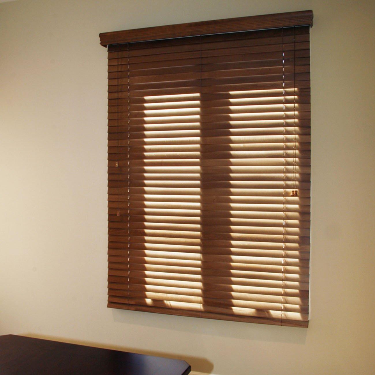 "Chicology Faux Wood Blind, Realistic Wood Grain Embossing, Blaze Brown (Brown), 43""x64"""