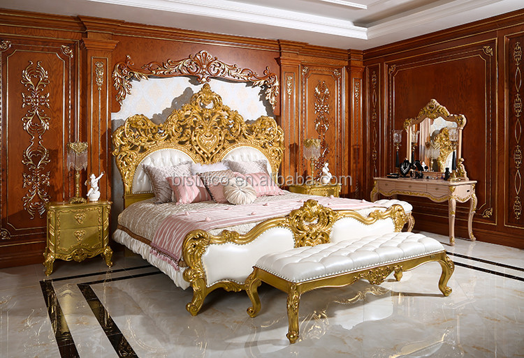 Royal Place Gold Leaf Finished Full Solid Wood Carving Bed, Arabic Golden  Style Bedroom Furniture