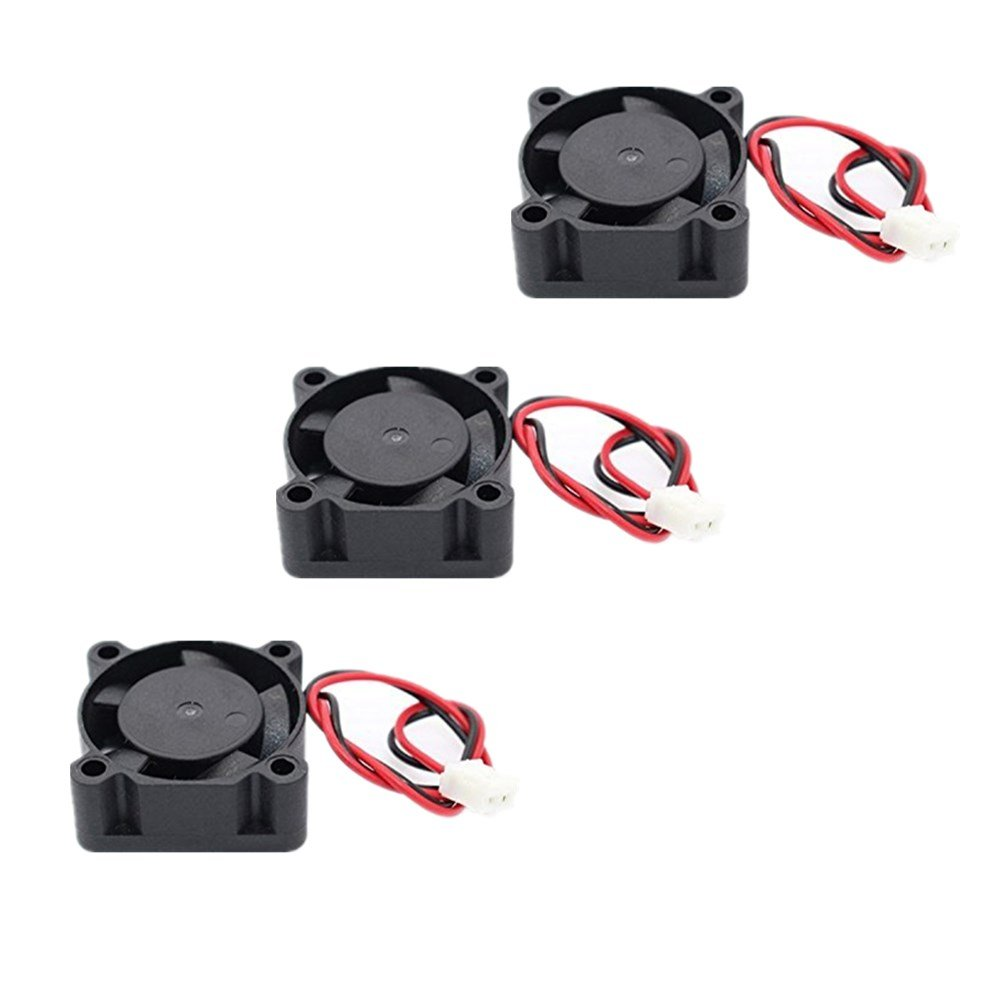 Honbay 3pcs DC 12V 0.1A 2Pin 25mm x25mm x10mm Mini Brushless Cooling Fan