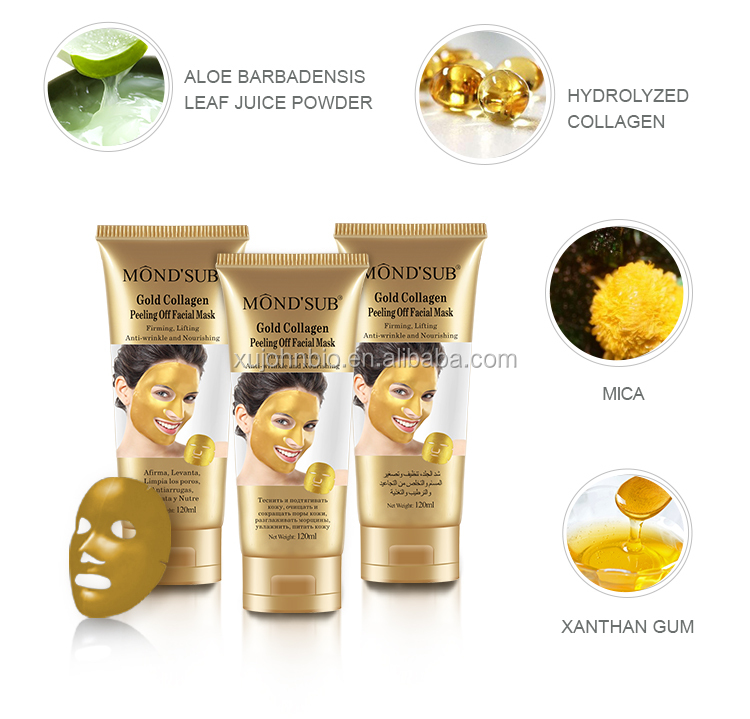 private label 24k gold collagen crystal peel off facial mask deep clean in face mask