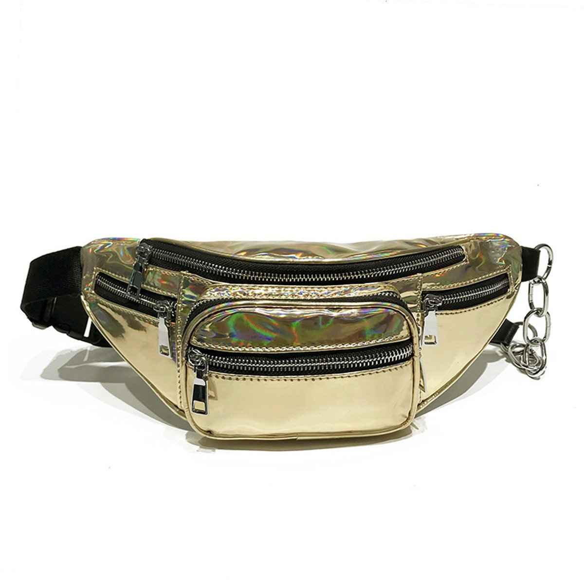 Andear Womens Shiny Holographic Laser Bumbag Waterproof Fanny Pack PU Leather Outdoor Sports Waist Bag Hip Pack