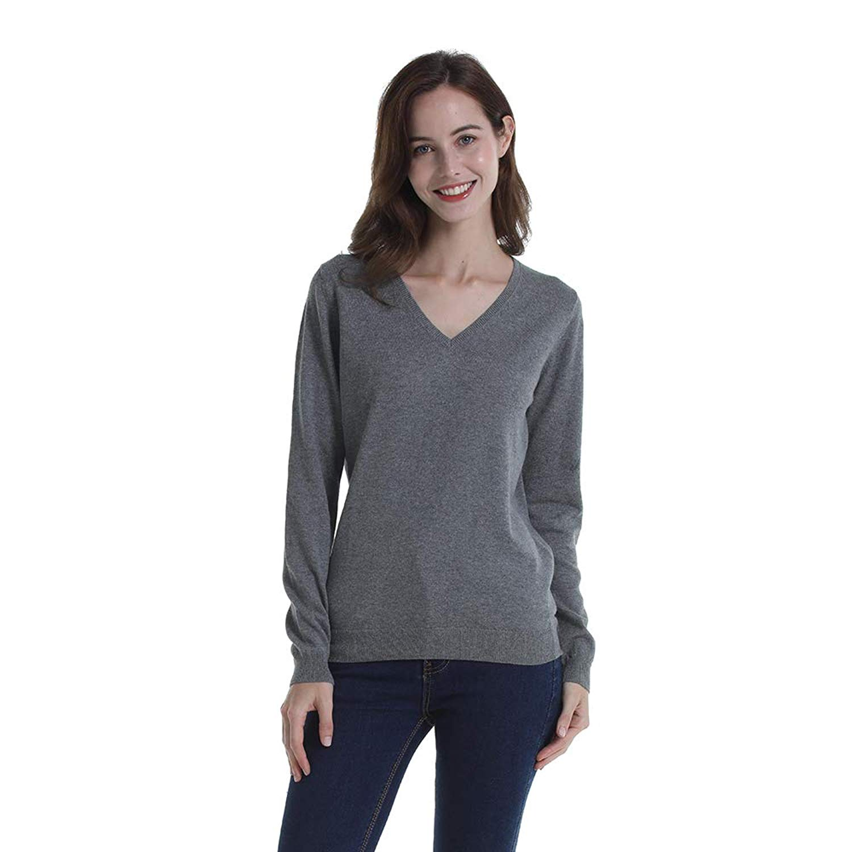 HUTOBI 100% Cotton Long Sleeve V-Neck Pullover Knit Sweater for Women