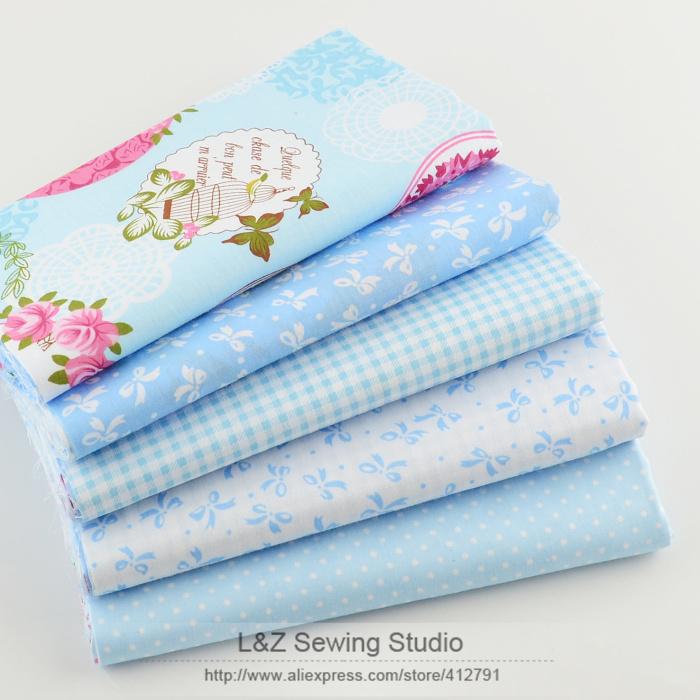 40cm 50cm 5pcs Blue Cotton Fabric Fat Quarter Quilting Patchwork Tissue Kids Baby Bedding Textile For
