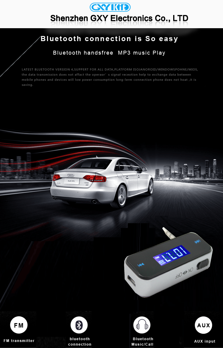 GXYKIT Factory wholesale car fm radio transmitter with LCD display for MP3/MP4 player