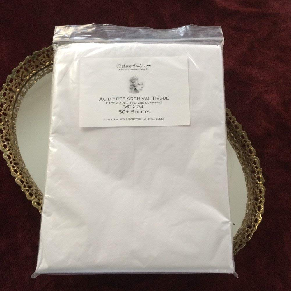 """The Linen Lady 50 Sheets 24""""x36"""" Acid Free Archival Tissue Paper-Unbuffered & Lignin Free ~ PROTECT YOUR HEIRLOOMS!"""