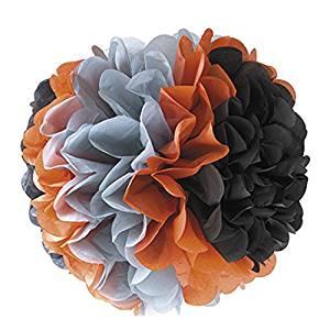Fabric mie paper pom mix color 40cm black / orange / gray 71-5052-00