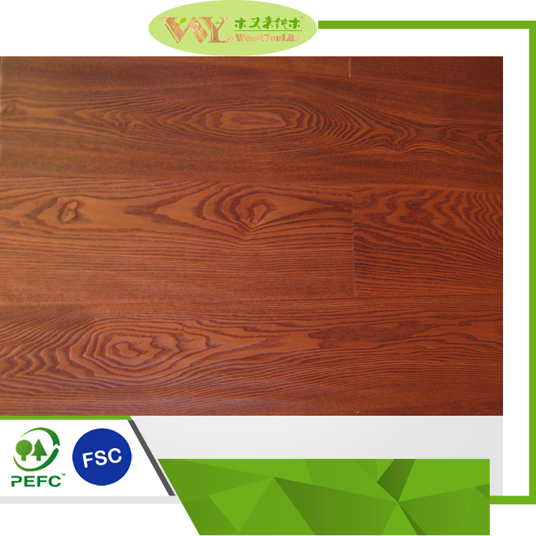 Ash Solid Wood Flooring Red wine Stained Bushed Laq Ash Floor