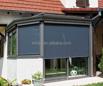 Outside Motorized Waterproof Windproof Boxed Roller Blinds With Remote Control Wireless