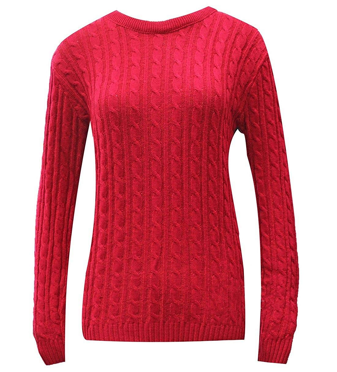 Rimi Hanger Womens Round Neck Cable Knitted Jumper Ladies Fancy Dress Party Wear Top S/L