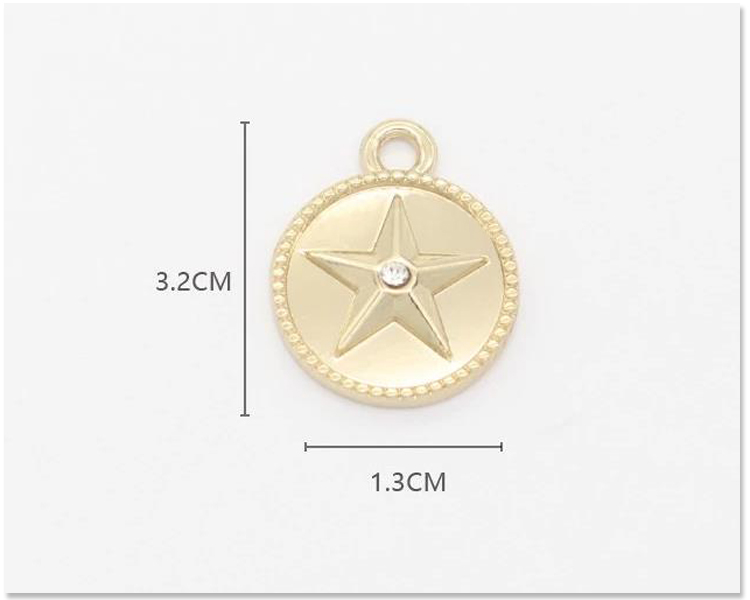 Zinc alloy custom made round charms stamped metal logo jewelry charms for swimwear bra