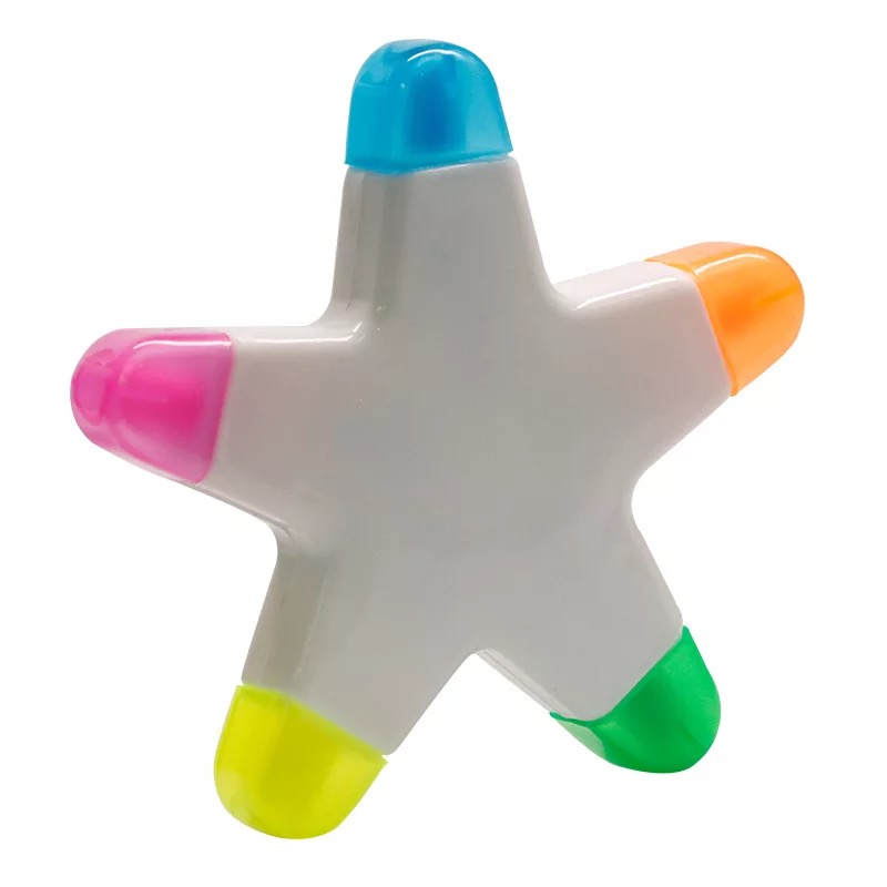 Wholesale Highlighter Multi Colored Black Eraser Promotional Star Shape Highlighter Pen