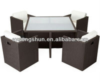 Black colour 4 chairs and 1 table Pe Rattan cube set