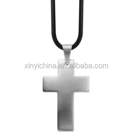 Steel Art Men's Stainless Steel Plain Cross with A Raised Dome Shape, Comes with Chain Necklace