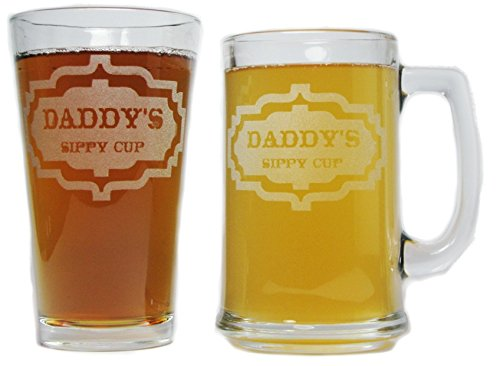Daddy's Sippy Cup Beer Mug and Pint Glass Gift Set - 15oz Engraved Beer Mug with 16oz Pint Glass-Permanently Etched - Fun & Unique Gift!