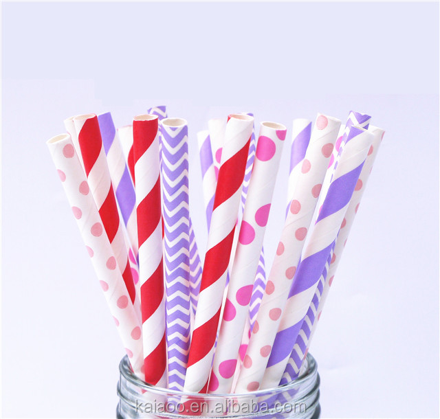 Wholesale disposable Eco friendly paper straws custom logo striped polk dot gold sliver bamboo party Decor