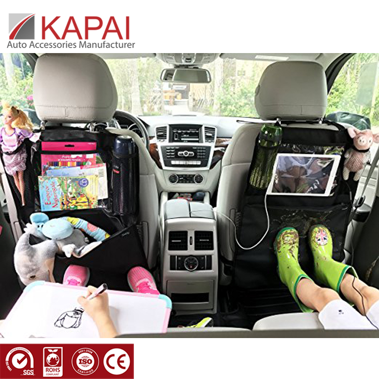 Storage Pockets Waterproof Fabric Car Seat Back Cover Protector Kick Mat