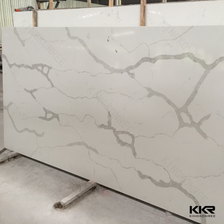 Countertop Marble Looking Light Grey Vein White Quartz