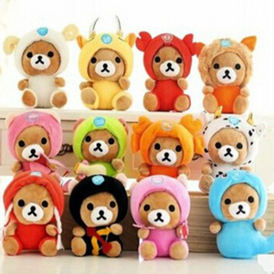 Free Shipping 12pcs/lot 18cm Twelve Constellation Relax Bear Toy kawaii Doll For Baby Car Pendant Teddy Bear Gift For Girls