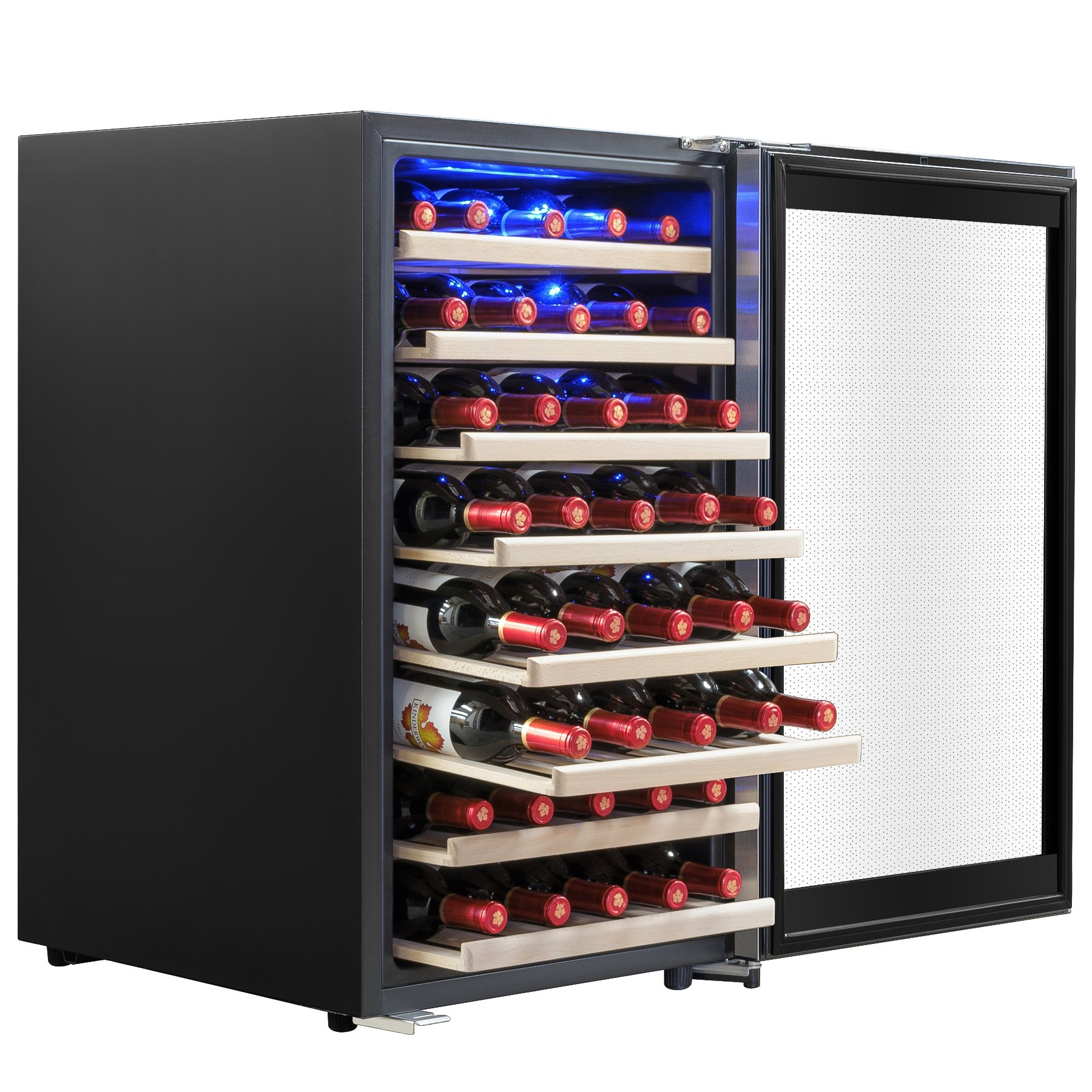 AKDY 52 Bottles Built-in Compressor Single Zone Adjustable Touch Control Panel Freestanding Wine Cooler Refrigerator