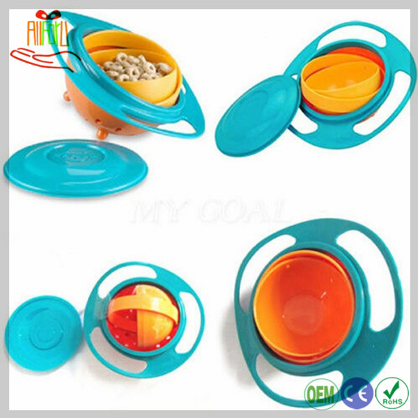 Eco-friendly Baby Feeding Bowl UFO Style Baby Bowl Spill Resistant Gyro Bowl