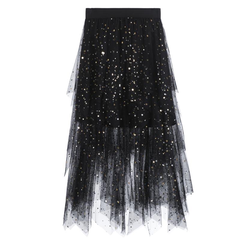 f490381cfec2a2 Nieuwe Ontwerp 5 Kleuren Sweet Rok Sequin Stars Bling Bling Elastische  Taille Tiered Lange Mesh Rok